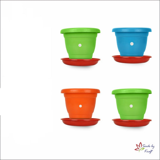 8-inch Fresh Gamla/Pot/Pots Planter. Great for garden lovers Different colours ( 4 pots +Tray)