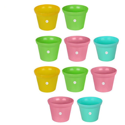 Rera Pot-3 inch Unique Style Round Cut and Colourful Pot Garden Home Office Utility Decor (10 Pots)