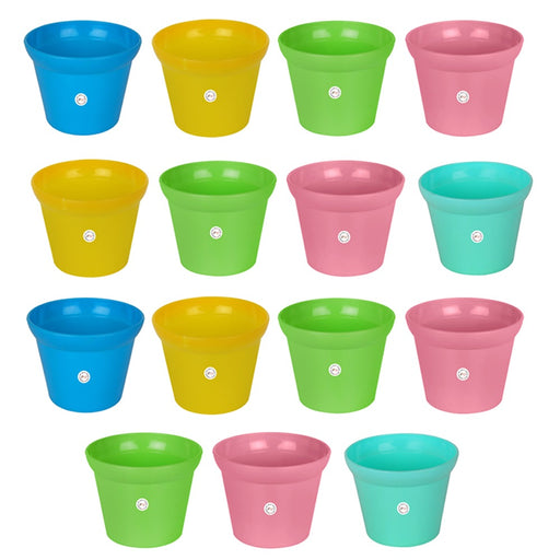 Rera Pot-3 inch Unique Style Round Cut and Colourful Pot Garden Home Office Utility Decor (15 Pots)