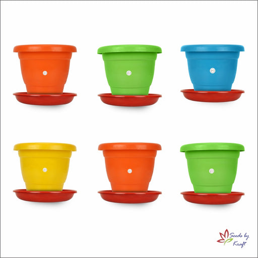 8-inch Fresh Gamla/Pot/Pots Planter. Great for garden lovers Different colours ( 6 pots+ Tray)
