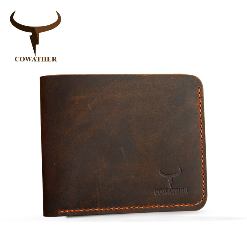 COWATHER Crazy horse vintage genuine leather wallet for men