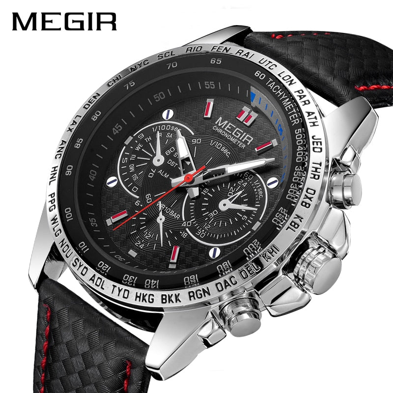 Sports Watches Men Leather Luxury Quartz Military Wrist Watch Waterproof Clock