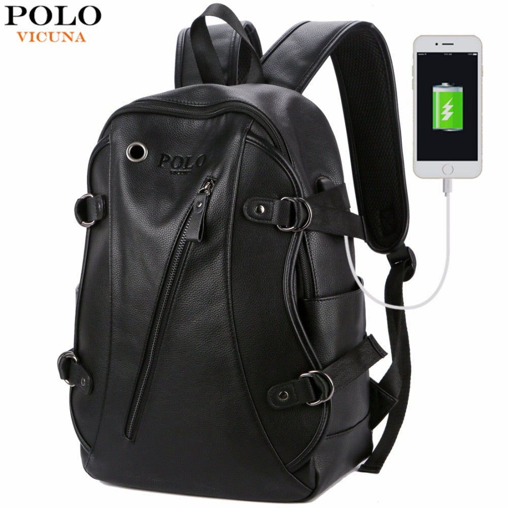 VICUNA POLO Man Leather Casual Brand USB Interface Backpack Bag With Headphone Hole