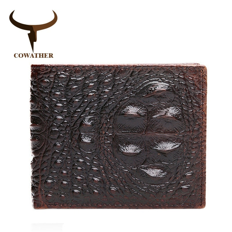 COWATHER 100% genuine leather mens wallets  Crocodile embossed