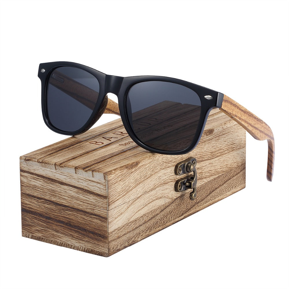2019 Polarized Zebra Wood Glasses Hand Made Vintage Wooden Frame With Box