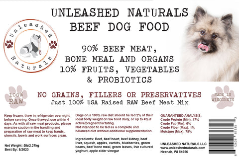 RAW Frozen Beef Grind Dog Food