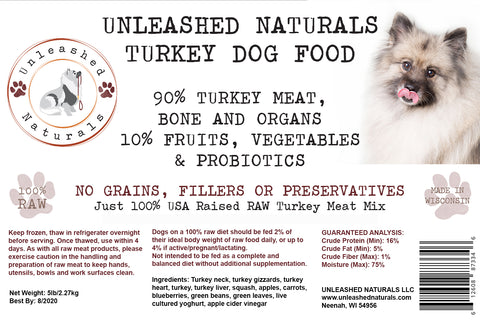 RAW Frozen Turkey Grind Dog Food