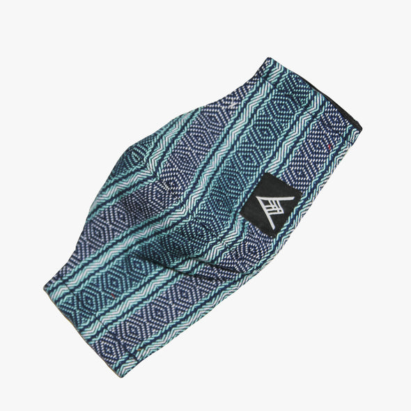 Handwoven Facemask - Aqua and Navy Inabel