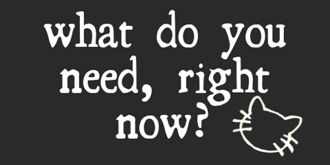 ask yourself - what do you need, right now?