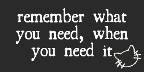 remember what you need, when you need it