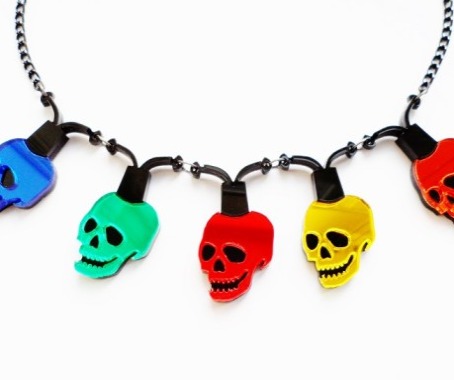 Skull Christmas Light Necklace