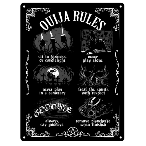 Ouija Board Rules Small Tin Sign