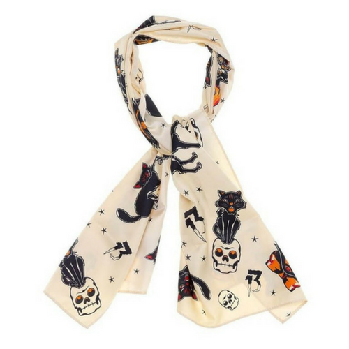Sourpuss Black Cat Bad Girl Headscarf
