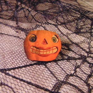 Smiley Jack o Lantern Wooden Brooch