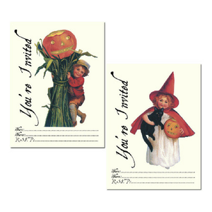 Witch and Scarecrow Party Invites - Pack of 8