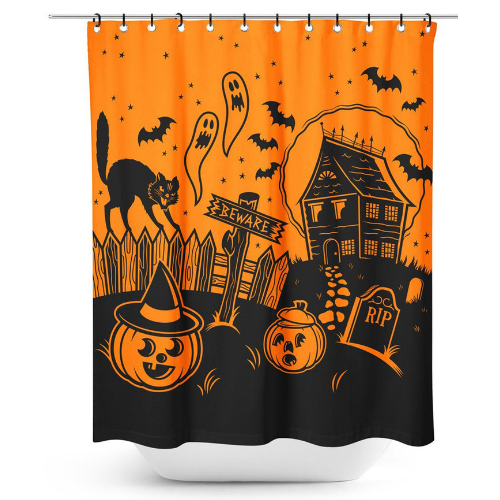 Sourpuss Haunted House Shower Curtain