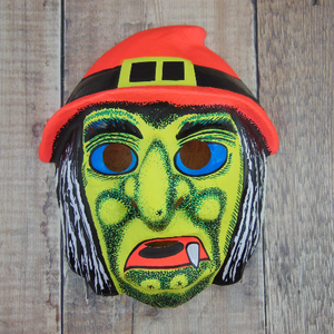 Vintage Red Hat Witch Mask