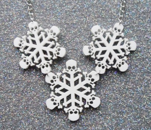 Skull Snowflake Acrylic Necklace
