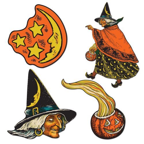 Beistle Witch, Moon and Pumpkin Cutouts