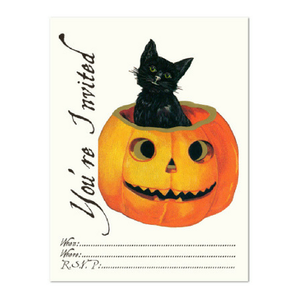 Cat in Pumpkin Party Invites - Pack of 8