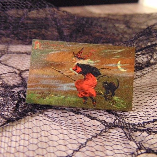 Flying Witch Wooden Brooch