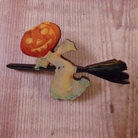 Pumpkin Witch Wooden Brooch