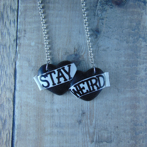 Stay Weird Large Double Heart Necklace