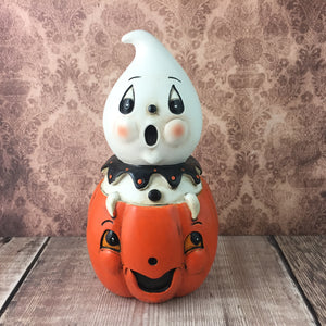 Peekaboo Pumpkin Ghost Figurine - Back Soon!