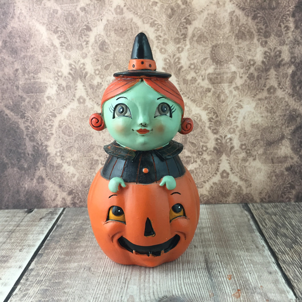 Peekaboo Pumpkin Witch Figurine - Back Soon!