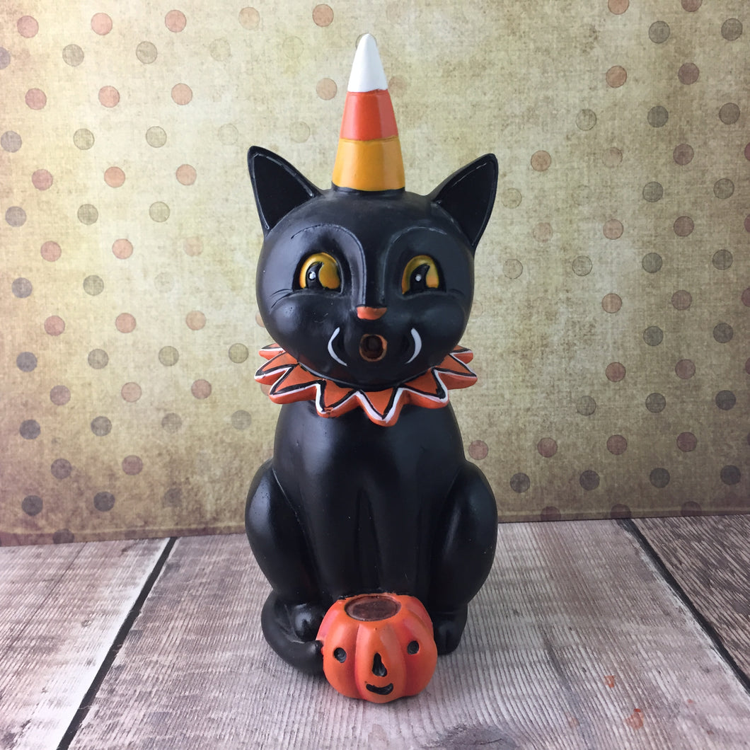 Scaredy Black Cat Figurine - Back Soon!