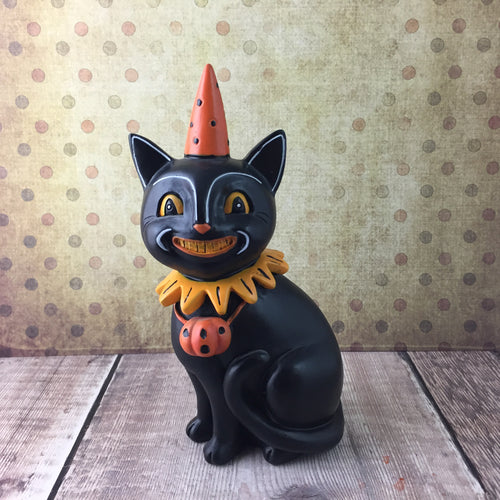 Smiling Black Cat Figurine - Back Soon!