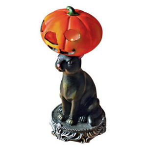 Kitty Cat Pumpkin Hat Battery-Operated Lamp