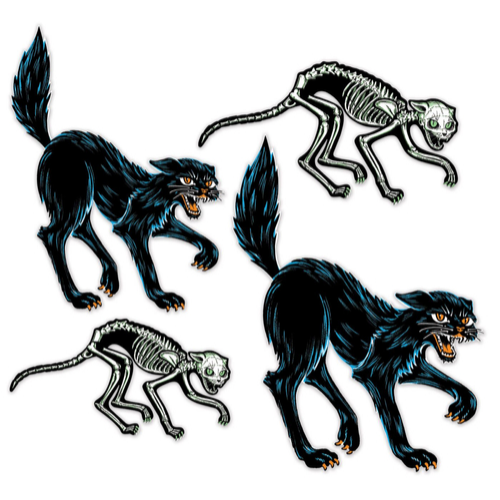 Jointed Skeleton and Black Cat - Set of 4