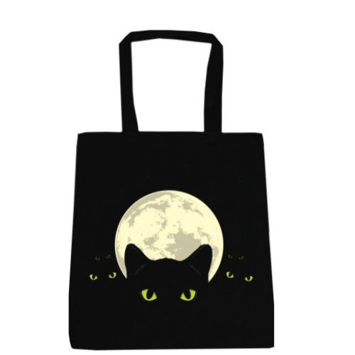 Bright Eyes Black Cat Tote Bag