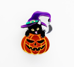 Pumpkin Witch Cat Brooch