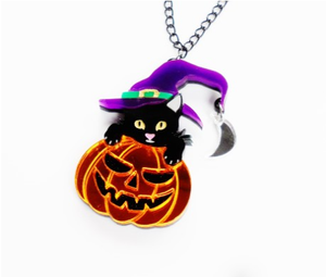 Pumpkin Witch Cat Necklace