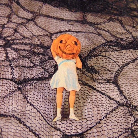 Pumpkin Girl Wooden Brooch