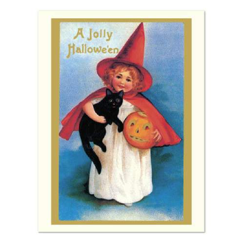 Witch Girl with Pumpkin Greeting Card