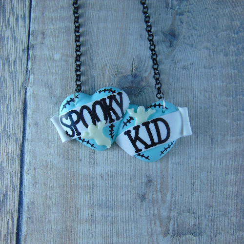 Spooky Kid Large Double Heart Necklace