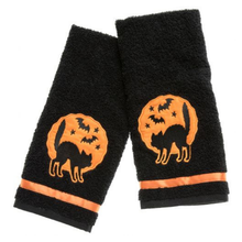 Load image into Gallery viewer, Sourpuss Black Cat Hand Towels - Set of Two