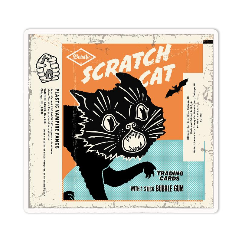 Creepy Company Beistle Scratch Cat Wax Pack Sticker