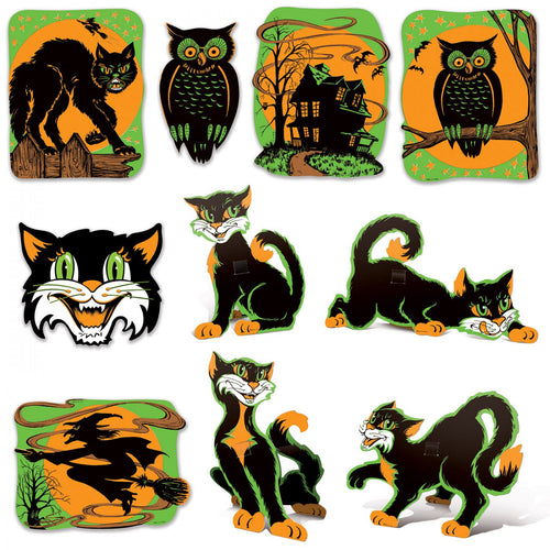 Beistle Cat and Owl Cutouts