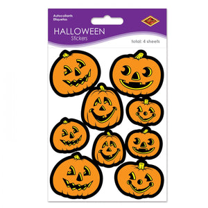 Beistle Jack o' Lantern Stickers - 4 Sheets