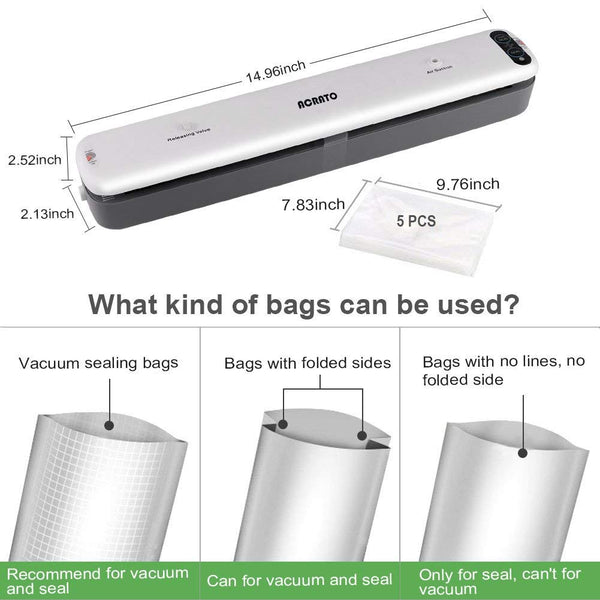 Vacuum Sealer with Hose Automatic Vacuum Air Sealing System 5pcs Sealer Bags Included