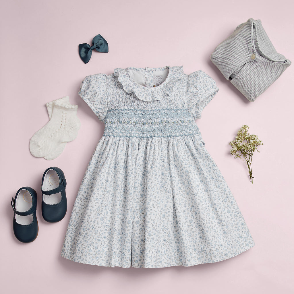 648ef987 TRADITIONAL FLORAL SMOCKED GIRL'S DRESS IN BLUE AND WHITE