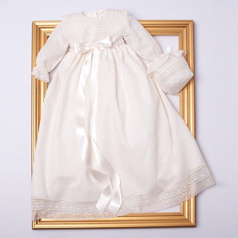 Made To Order Christening Gown With Front Satin Sash - Ivory - Made to order - PEPA AND CO