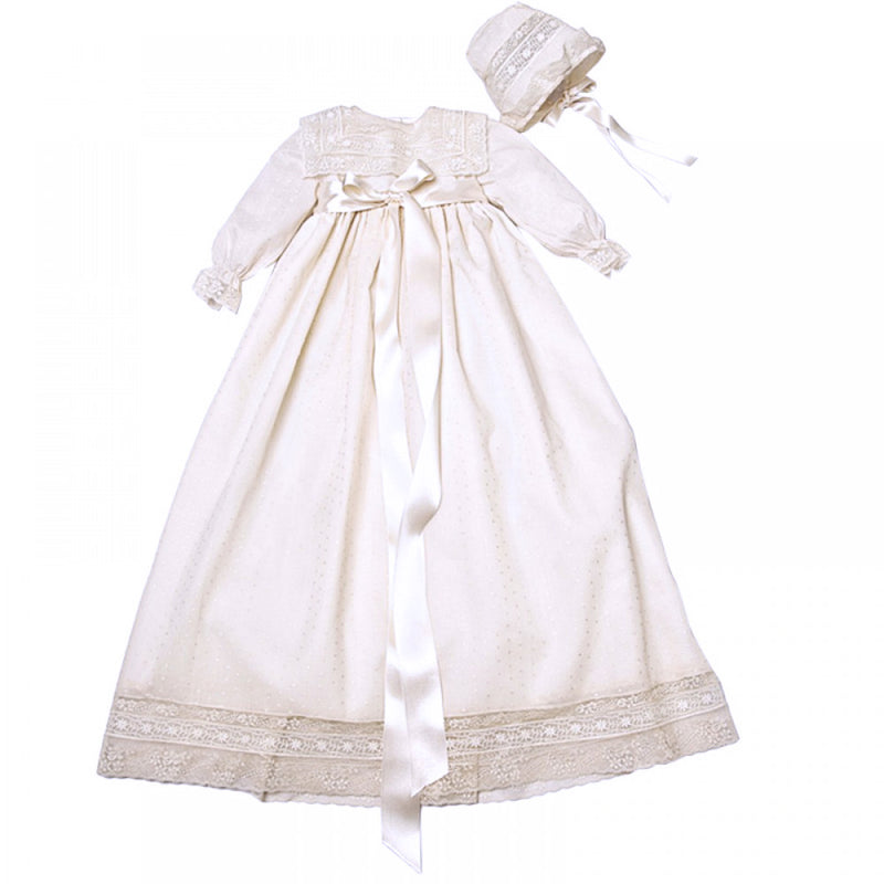 Made To Order Christening Gown With Front Satin Sash - Ivory