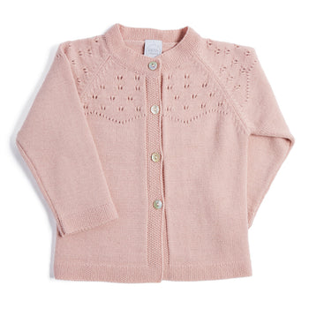Pink Openwork Wool Blend Cardigan - Knitwear - PEPA AND CO