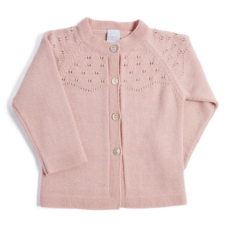 Pink Openwork Wool Blend Cardigan - KNITTED - PEPA AND CO