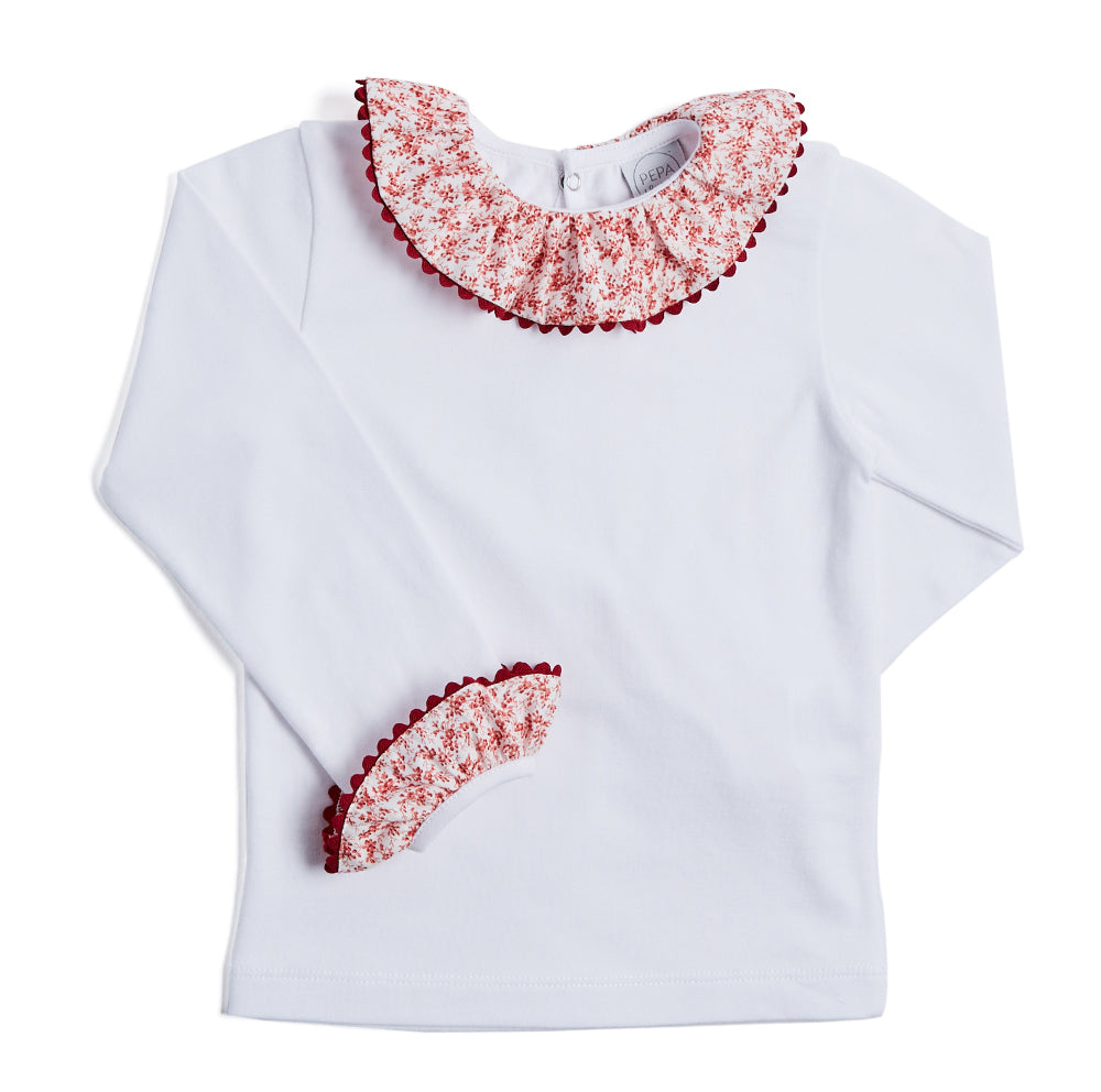 White Long-Sleeved Top with Floral Print Collar - TOP - PEPA AND CO